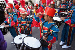 Marching band. Elementary students were preparing to parade marching band in the city of Solo, Central Java, Indonesia Royalty Free Stock Image