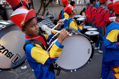 Marching band. Elementary students were preparing to parade marching band in the city of Solo, Central Java, Indonesia Royalty Free Stock Photos