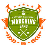 Marching band emblem. Marching band drum corp emblem badge design Royalty Free Stock Images