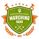 Marching band emblem. Marching band drum corp emblem badge design stock illustration