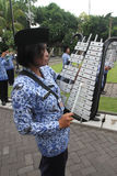 Marching band. Government employees were practicing marching band at the town hall in the city of Solo, Central Java, Indonesia Royalty Free Stock Photos