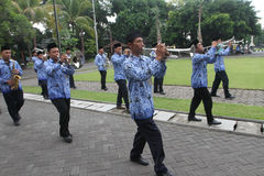 Marching band. Government employees were practicing marching band at the town hall in the city of Solo, Central Java, Indonesia Royalty Free Stock Photo