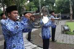 Marching band. Government employees were practicing marching band at the town hall in the city of Solo, Central Java, Indonesia Stock Images
