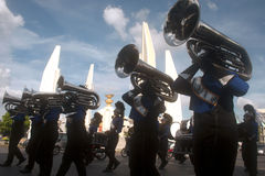 Marching band in Harmony World Puppet Carnival in Bangkok,Thailand. Stock Photo