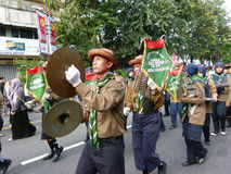 Marching band. Of Islamic Organizations in action on the streets in the city of Solo, Central Java, Indonesia Stock Photo