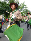 Marching band. Of Islamic Organizations in action on the streets in the city of Solo, Central Java, Indonesia Stock Images