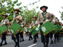 Marching band. Of Islamic Organizations in action on the streets in the city of Solo, Central Java, Indonesia Royalty Free Stock Images