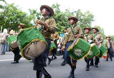 Marching band. Islamic organizations  Marching band appear in a parade in the streets of Solo, Central Java, Indonesia Stock Image