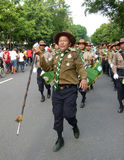 Marching band. Islamic marching band parading the occasion of religious holidays in the city of Solo, Central Java, Indonesia Stock Image
