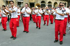Marching band in Italy Stock Photography