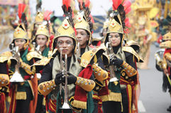 Marching Band at Jember Fashion Carnival stock photos