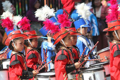 Marching band. Kindergarten students are following the marching band competition in the tourist park in the city of Solo, Central Java, Indonesia Royalty Free Stock Photos