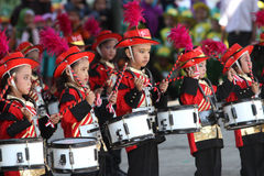 Marching band. Kindergarten students are following the marching band competition in the tourist park in the city of Solo, Central Java, Indonesia Royalty Free Stock Images
