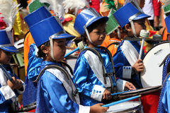 Marching band. Kindergarten students are following the marching band competition in the tourist park in the city of Solo, Central Java, Indonesia Royalty Free Stock Photography