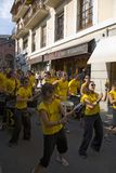 Marching band making their way down the streets of Puigcerda, Girona, Cataluna, Spain, Europe Stock Photos
