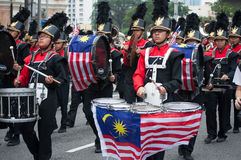 Marching Band During Malaysia`s Independence Day Parade. Kuala Lumpur, Malaysia - August 31, 2014: Marching band during Malaysia`s 57th Independence day parade Royalty Free Stock Image
