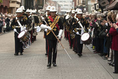 The marching band marches through Exeter City Stock Photography