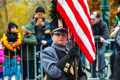Marching Band Member with US Flag in Philly Parade Stock Photos