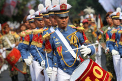Marching band. Military academy cadets marching bands enliven independence day in the city of Solo, Central Java, Indonesia Stock Images
