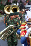 Marching band. Military academy cadets marching bands enliven independence day in the city of Solo, Central Java, Indonesia Stock Photos