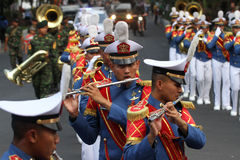 Marching band. Military academy cadets marching bands enliven independence day in the city of Solo, Central Java, Indonesia Royalty Free Stock Image