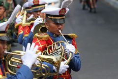 Marching band. Military academy cadets marching bands enliven independence day in the city of Solo, Central Java, Indonesia Stock Photo
