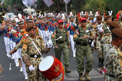 Marching band. Military academy cadets marching bands enliven independence day in the city of Solo, Central Java, Indonesia Royalty Free Stock Photo