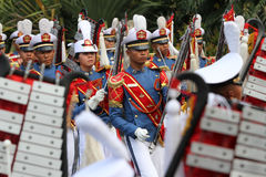 Marching band. Military academy cadets marching bands enliven independence day in the city of Solo, Central Java, Indonesia Stock Image