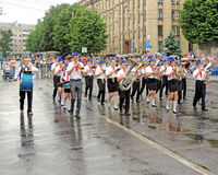 Marching band on the Music Festival of Children's Brass Bands Stock Images