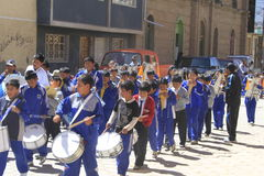 Marching band, oruro, Bolivia Royalty Free Stock Photography