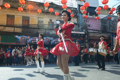 Marching band in a parade during Chinese New Year Festival. Stock Photo