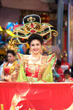 Marching band in a parade during Chinese New Year Festival. NAKHONSAWAN ,THAILAND - JANUARY 31,2017 :Unidentified pretty woman in Marching band on parade show Royalty Free Stock Photos