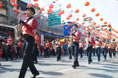 Marching band in a parade during Chinese New Year Festival. NAKHONSAWAN ,THAILAND - JANUARY 31,2017 :Unidentified students in Marching band on parade show on Stock Photography