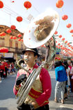 Marching band in a parade during Chinese New Year Festival. Royalty Free Stock Photography