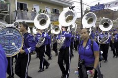 Marching band in parade Stock Images