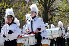 Marching band with percussion  instruments Stock Photo
