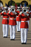 Marching Band performance. Soldiers of the United States Marine Corps Marching Band. Image taken during a ceremony at MCRD, San Diego on March 8th, 2008 Royalty Free Stock Photos