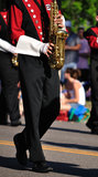 Marching Band Performer Playing Saxophone Royalty Free Stock Photography