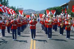A marching band performs Royalty Free Stock Photo