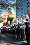 Marching Band Plays In Atlanta Christmas Parade Stock Photo