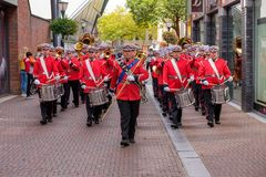 Marching band practicing for the Taptoe Delft 2018, the Netherl stock photo