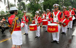 Marching band. Prepares for a parade on the streets in the city of Solo, Central Java, Indonesia Stock Image