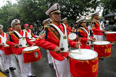 Marching band. Prepares for a parade on the streets in the city of Solo, Central Java, Indonesia Stock Photography