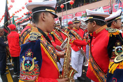 Marching band. Prepares to parade in chinese new year celebration in the city of Solo, Central Java, Indonesia Royalty Free Stock Photos