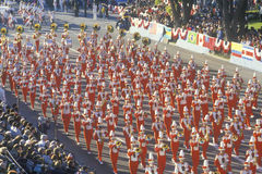 Marching band in Rose Parade, CA Stock Photo