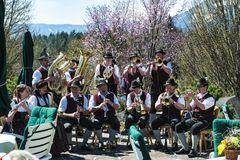 Brass Band in Alps, Bavaia, Germany Stock Photo