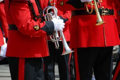 Marching band trumpet Royalty Free Stock Images