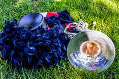 Marching Band Uniform and Instrument Royalty Free Stock Photos