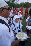 Marching band. The village children were practicing marching band in a square in the city of Solo, Central Java, Indonesia Royalty Free Stock Image