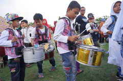 Marching band. The village children were practicing marching band in a square in the city of Solo, Central Java, Indonesia Stock Photography